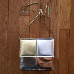 Vintage Crossbody Shoulder Bag Silver Gold